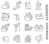 set of hygiene related vector... | Shutterstock .eps vector #613563950