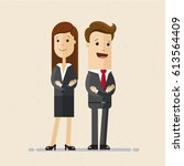 business man and woman standing ... | Shutterstock .eps vector #613564409