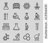 scientific icons set. set of 16 ... | Shutterstock .eps vector #613566650