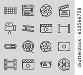 cinema icons set. set of 16... | Shutterstock .eps vector #613566758