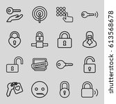 secret icons set. set of 16... | Shutterstock .eps vector #613568678