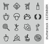 eating icons set. set of 16... | Shutterstock .eps vector #613568684