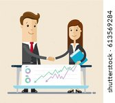 businessman and woman works... | Shutterstock .eps vector #613569284