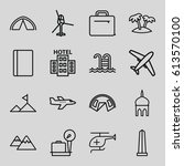 tourism icons set. set of 16... | Shutterstock .eps vector #613570100