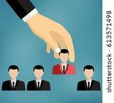 hand of businessman grab one... | Shutterstock .eps vector #613571498