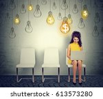 happy woman working on laptop... | Shutterstock . vector #613573280