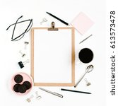 pale pink home office workspace ...   Shutterstock . vector #613573478