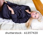 glamour woman in black jacket | Shutterstock . vector #61357420