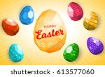 happy easter greeting card or... | Shutterstock .eps vector #613577060