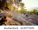 antique amphitheatre in ancient ... | Shutterstock . vector #613577690