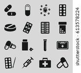 medication icons set. set of 16 ...   Shutterstock .eps vector #613578224