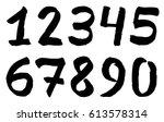 set of black inky numbers | Shutterstock .eps vector #613578314