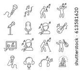 set of singing related vector... | Shutterstock .eps vector #613581620