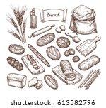 Bread And Ingredients. Big Set...
