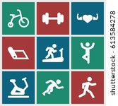 exercise icons set. set of 9... | Shutterstock .eps vector #613584278
