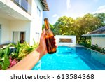 vacation concept. male hand... | Shutterstock . vector #613584368