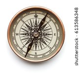 vintage compass isolated on... | Shutterstock . vector #613586348
