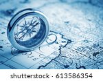 compass on old map | Shutterstock . vector #613586354