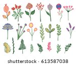 hand drawn colorful vintage... | Shutterstock .eps vector #613587038