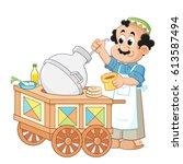 seller beside his beans cart  ... | Shutterstock .eps vector #613587494