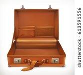 open suitcase  3d vector icon | Shutterstock .eps vector #613591556