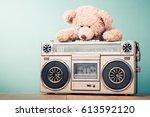 retro cassette tape recorder... | Shutterstock . vector #613592120