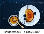breakfast theme. grilled whole... | Shutterstock . vector #613593500
