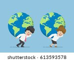 businessman and businesswoman... | Shutterstock .eps vector #613593578