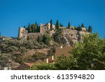view of castle on top of a hill ... | Shutterstock . vector #613594820