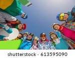 group of people  snowboarders... | Shutterstock . vector #613595090