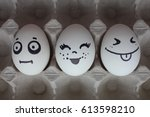eggs with faces photo for your... | Shutterstock . vector #613598210