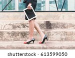 beautiful modern businesswoman... | Shutterstock . vector #613599050