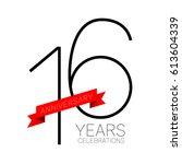 anniversary emblems 16... | Shutterstock .eps vector #613604339