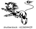 black cutout tribal lion tattoo ... | Shutterstock .eps vector #613604429