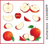 set of red apple in pieces ... | Shutterstock .eps vector #613608899