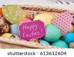 greeting card and easter basket.... | Shutterstock . vector #613612604