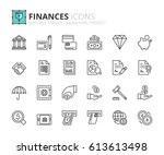 outline icons about finances.... | Shutterstock .eps vector #613613498