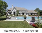 swimming pool in back of luxury ... | Shutterstock . vector #613622120