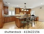 kitchen with center island and... | Shutterstock . vector #613622156