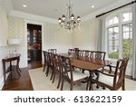 dining room in luxury home with ... | Shutterstock . vector #613622159