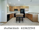 kitchen in suburban home with... | Shutterstock . vector #613622543