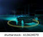driver less vehicle    3d... | Shutterstock . vector #613624070