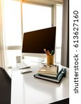 manager table with desktop... | Shutterstock . vector #613627160