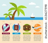 tropical beach columns... | Shutterstock .eps vector #613627598