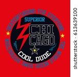 chicago cool dude skateboarding ... | Shutterstock .eps vector #613639100
