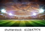 lights at night and stadium 3d | Shutterstock . vector #613647974