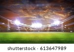 stadium in lights and flashes... | Shutterstock . vector #613647989