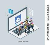 social media on internet with... | Shutterstock .eps vector #613653686