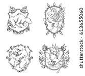 vector set of various heraldic... | Shutterstock .eps vector #613655060