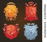 vector set of various heraldic... | Shutterstock .eps vector #613655066